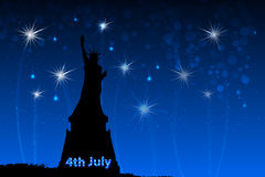 US Independence Day. Illustration,. US Independence Day. A statue of liberty against the sky and fireworks with an American flag in the background with the text Royalty Free Stock Photo