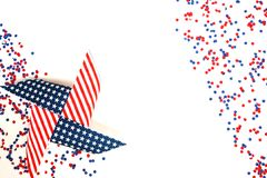 The us independence day, July 4, memorial day, patriotism and veterans, the holiday of the country , flags and swezy paper white-b. The us independence day, July Stock Image