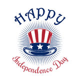 US Independence Day logo design. Independence Day card. Happy Independence Day. 4th of July. Uncle Sam Hat. Color icon isolated on white background. Vector Stock Photo