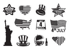 US Independence Day monochrome icon set. Collection of symbols and inscriptions for Fourth of July. Vector illustration royalty free illustration