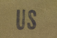 US initials on military tent. US initials on green khaki military tent Royalty Free Stock Photos