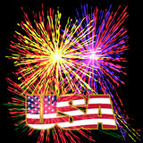 US inscription stylized flag colors in a gold frame on a background celebratory fireworks on Independence Day. Vector illustration Royalty Free Stock Photos