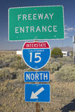US Interstate 15 Road sign leaving Las Vegas, NV Royalty Free Stock Photo
