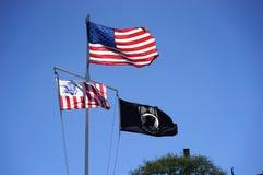 US, Küstenwache und MIA-Flaggen Lizenzfreie Stockbilder