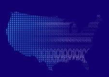 US-Karte mit binärem Code Lizenzfreies Stockfoto