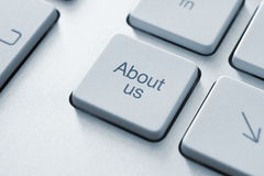 About Us Key. About us button on the keyboard. Toned Image Royalty Free Stock Photos