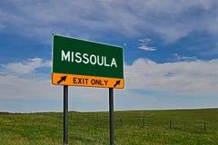 US-Landstraßen-Ausgangs-Zeichen für Missoula Lizenzfreies Stockbild