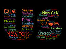 US letters with cities names words cloud Stock Image