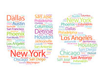 US letters with cities names words cloud Royalty Free Stock Images
