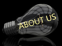 About us. Lightbulb on black background with text in it. 3d render illustration Royalty Free Stock Images