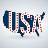 US logo or icon with USA letters across the map and 50 stars, United States of America. Vector illustration isolated on modern bac. Kground with shadow royalty free illustration