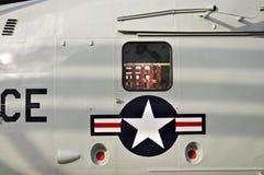 US-Luftwaffe-Hubschrauber Roundel-Nahaufnahme stockfoto