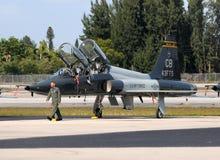 US-Luftwaffenpilot und -strahl Stockbild