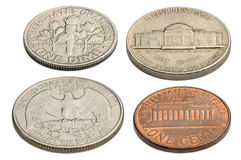US-Münzen lokalisiert auf einem weißen Hintergrund Stockfotografie