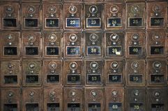 US Mail Box. US Mail lock indoor box at the office royalty free stock photos