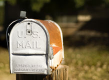 US Mail box. Typical aged and weathered outdoor US mail box Stock Images