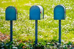 US mail letterbox delivery USA mailboxes american vintage style.  royalty free stock images