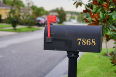 US mailbox with flag in up position Royalty Free Stock Photo