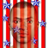 US Man. With stars and stripes Royalty Free Stock Photography