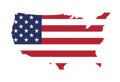 US Map. Stars And Stripes, Flag Of The United States Stock Illustration