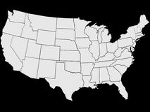 US Map. Illustration of a map of the US in different shades of white on a black background