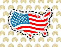 US Map with barbed wire. America closes border in relation to im Royalty Free Stock Photography