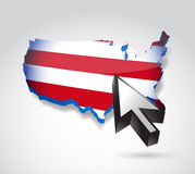 Us map and cursor illustration design Royalty Free Stock Photos