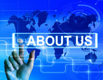 About Us Map Displays Website Information of an International Co Royalty Free Stock Photos