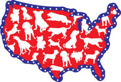 US Map and Dogs. A map of the United States with silhouettes of different dog breeds on it Stock Images