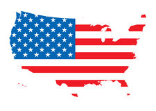 Us map flag. Map of america outlined with the flag of the us Stock Photography