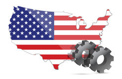 Us map flag and gears illustration design Stock Photos