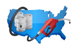 US map with a gas pump nozzle Royalty Free Stock Images