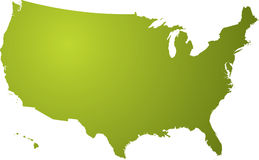 Us map green Royalty Free Stock Photos