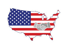 US map handshake concept illustration Stock Images