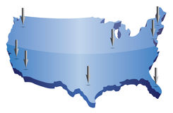 US map pointing locations. Illustration isolated over a white background Stock Photo
