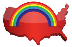 Us map with a rainbow illustration Stock Image