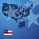 US map stars cover vector. US map land border stars cover background vector Stock Image