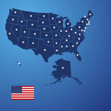 US map stars vector. US map land border stars background vector Royalty Free Stock Photo