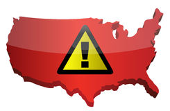 US map and warning sign Stock Images