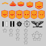 US Marine Corp Rank Insignia. Vector set of US Marine Corp officer and enlisted rank insignia, stars, bars, and chevrons Stock Image