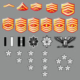 US Marine Corp Rank Insignia - Fabric Texture. Vector set of US Marine Corp officer and enlisted rank insignia, stars, bars, and chevrons with fabric texture Stock Photos