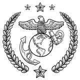 Us Marine Corps Insignia. Doodle style military rank insignia for US Marine Corps, including globe and anchor and wreath Stock Photos