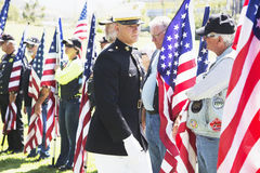 US Marine officer honors fallen soldier, PFC Zach Suarez, Honor Mission on Highway 23, drive to Memorial Service, Westlake Village. California, USA stock photography
