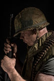 US Marine Vietnam War holding M16. Stock Photography