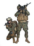 US marines. Two US marines with rifles in action Royalty Free Stock Photos