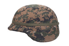 Us marines kevlar helmet with camouflage cover Stock Photo