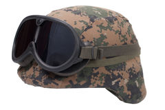Us marines kevlar helmet with camouflage cover and protective goggles Stock Photo