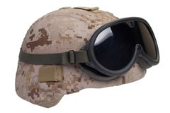 Us marines kevlar helmet with desert camouflage cover and protective goggles Stock Images