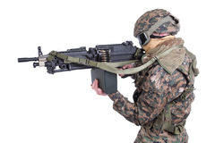 US MARINES with M249 machine gun Royalty Free Stock Photos