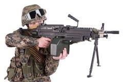 US MARINES with M249 machine gun Stock Images